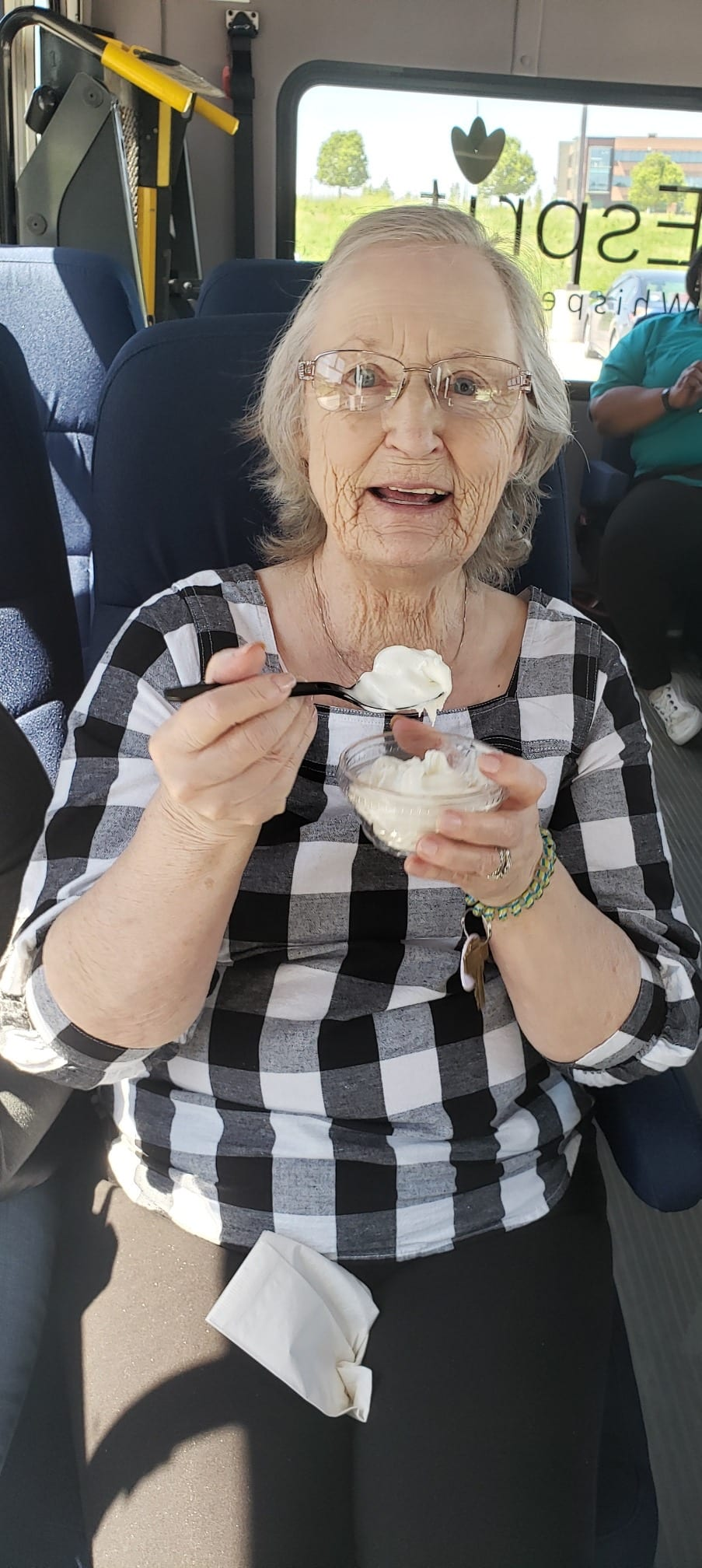 Senior woman enjoying dessert